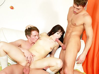 Ultra-kinky school college girl nailing at B-day soiree