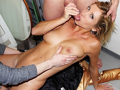 Mischievous youthfull bare damsel works 2 hard-ons